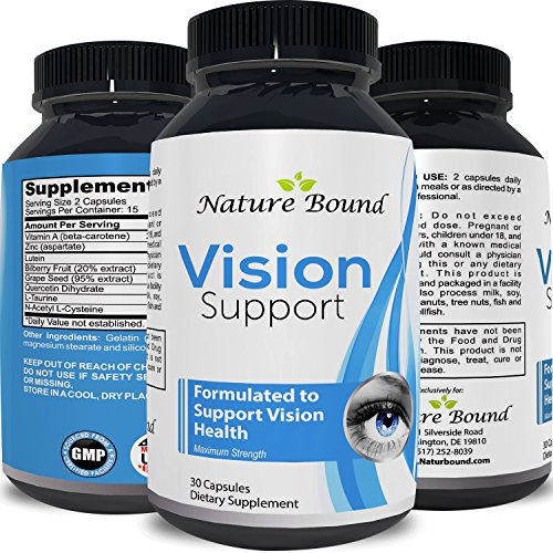 Eye Support Pure Lutein Supplement with Vitamin A – Best Natural Visual Function for Women & Men – Prevent Macular Degeneration Vitamins – Anti Age Loss Vision Repair Formula – Nature Bound