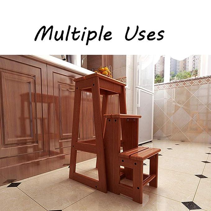 3 escalones, taburete, escalera de madera maciza, escalera ...