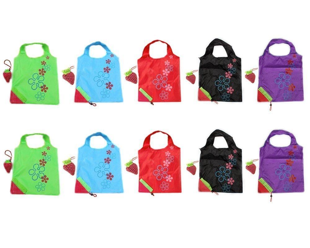 Faltbare Einkaufstaschen SKL ECO Taschen wiederverwendbare Erdbeere faltbar Einkaufstaschen Tote-10er-Pack