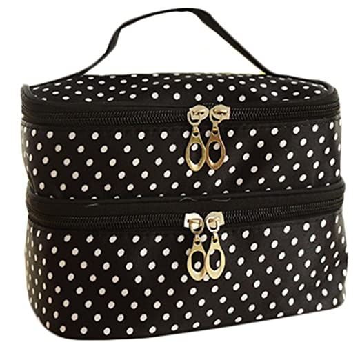 55ce367c6f7b Image Unavailable. Image not available for. Color  Double Layer Cosmetic  Bag Black with White Dot ...