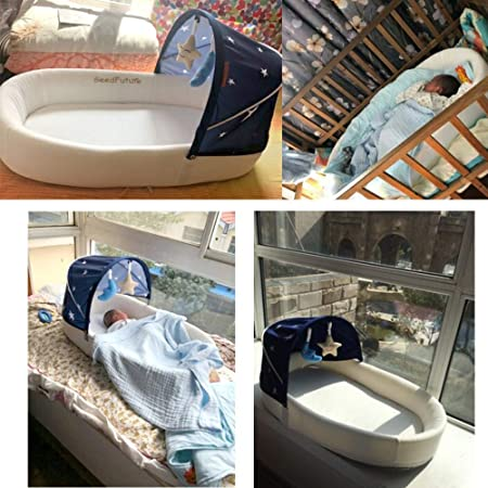 Cuna Nido Portátil, Moisés Bebé, Cuna De Viaje Con Colchon, Nido para bebé (azul mini)