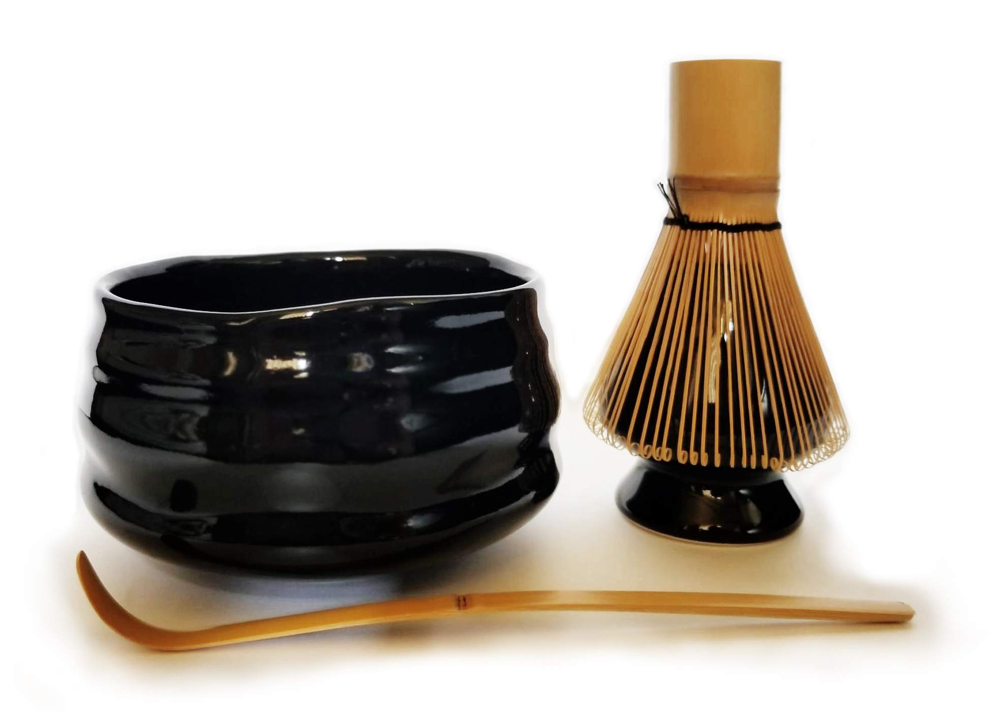 HARU MATCHA - Complete Matcha Tea Ceremony Gift Set - Black Matcha Chawan Bowl, Golden Bamboo Scoop (Chashaku), Bamboo Whisk (100 tate), and Black Whisk Holder