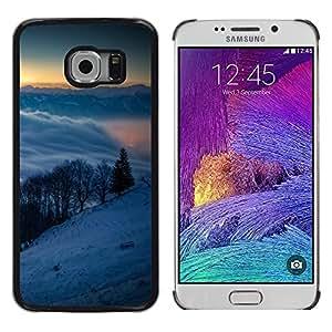 Snowy Mountains - Metal de aluminio y de plástico duro Caja del teléfono - Negro - Samsung Galaxy S6 EDGE (NOT S6)