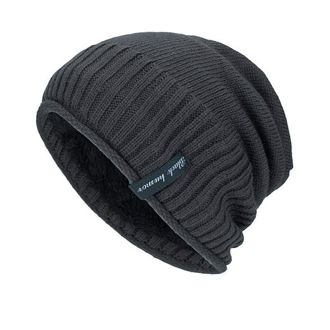 TEBAISE Warme Einfarbig Feinstrick Beanie Mütze mit Flecht Muster ...