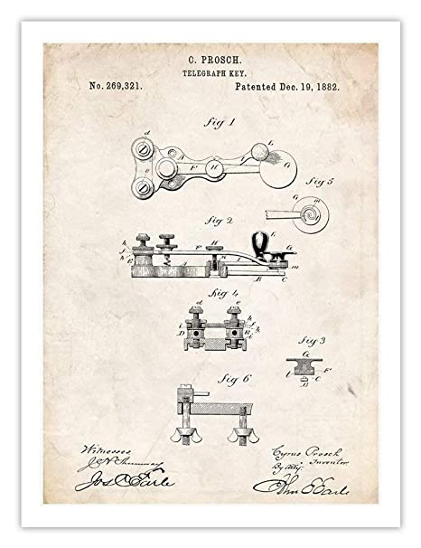 Telegraph Key Morse Code Invention 18x24 Poster