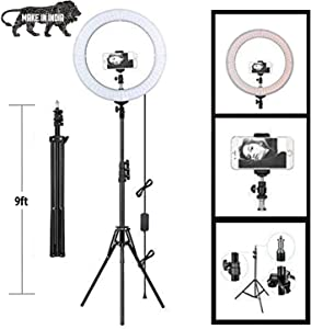 """10.2"""" Selfie Ring Light with Tripod Stand & Cell Phone Holder for Live Stream/Makeup, QI-EU Mini Led Camera Ringlight for YouTube Video/Photography/Tiktok Compatible with iPhone and Android Smartphone"""