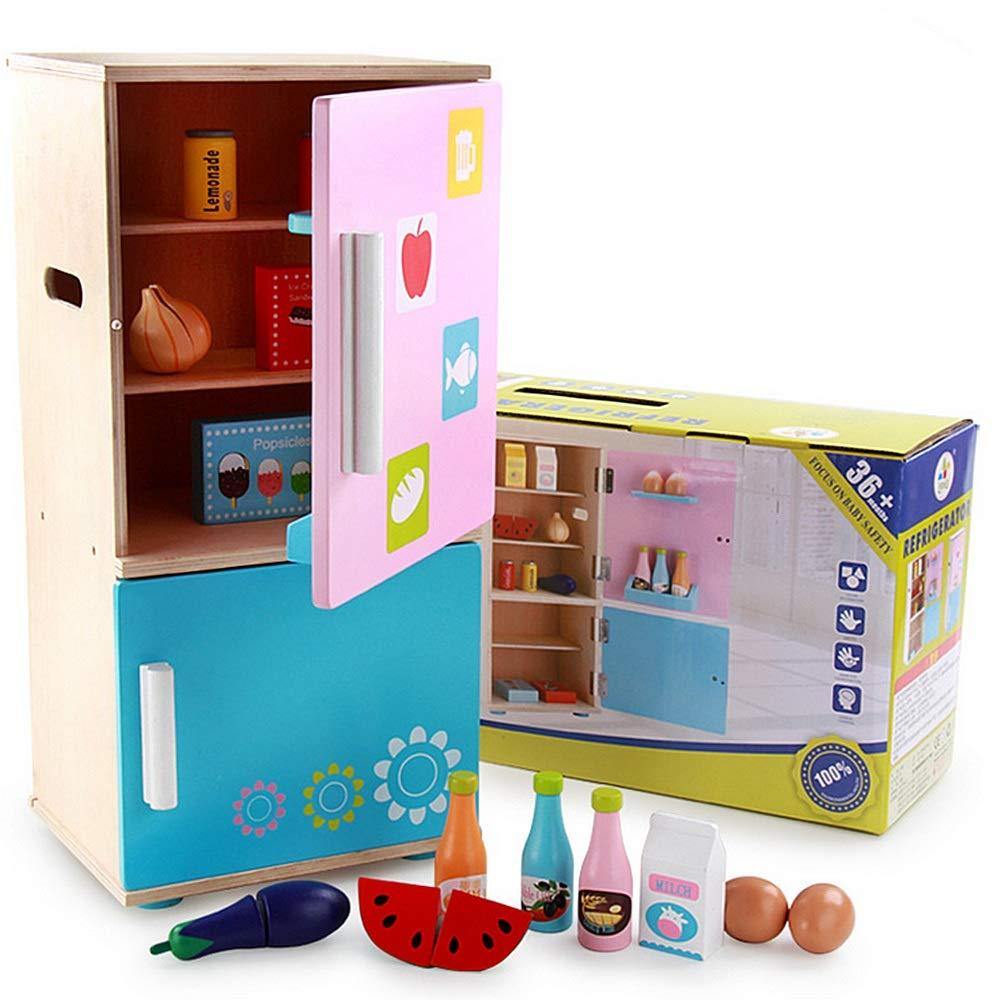 Melodycp Juego de Roles Reutilizable Pretender Juguetes par Juguete refrigerador Cosplay niños y niñas juegan Conjunto con Huevos de Frutas Vegetales