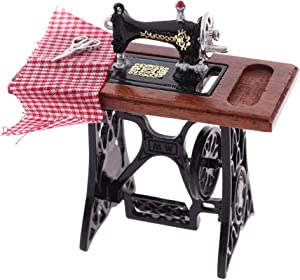 Welecom 1:12 Vintage Sewing Machine Kids Sewing Machine Dollhouse Miniature Standing Set Mini Dollhouse Furniture Accessories Dollhouse Retro Furniture Doll Home Life Scene Ornament Kid Pretend Toys