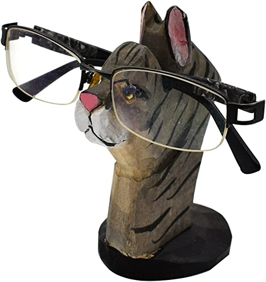 Wooden Nose Shaped Reading Eye Glasses Spectacles Stand Holder Desk Stand