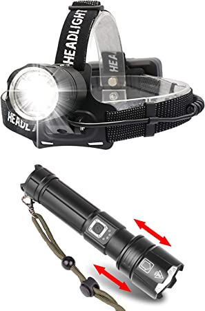 Handheld Flashlight 6000 Lumens PROFORUS USB Rechargeable XHP70.2 CREE Flashlights High Lumens LED Torch High Power Tactical Flashlights 5 Modes Zoomable with Power Display and USB Output
