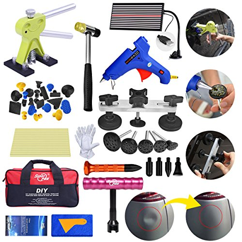 (Fly5D 43pcs Paintless PDR Kit with Bag Pops a Dent Glue Pulling)