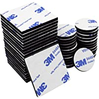 Double Sided Sticky Pads Black, 50 Pcs Adhesive Foam Pads Mounting Pads, Squares and Round