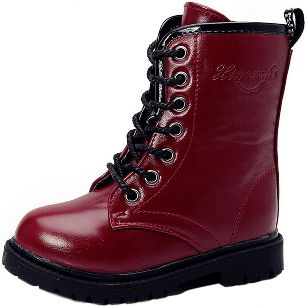 PPXID Boy's Girl's Waterproof Lace-up Side Zipper Mid Calf Combat Boots-Dark Red 4.5 US Size