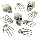 EOOUT 9Pcs Halloween Night Decoration - 3Pcs Plastic Skeleton Skull and 3 Pairs Physical Size Plastic Skeleton Hand Bone for Halloween Party Decoration (Plastic Skeleton Skull)