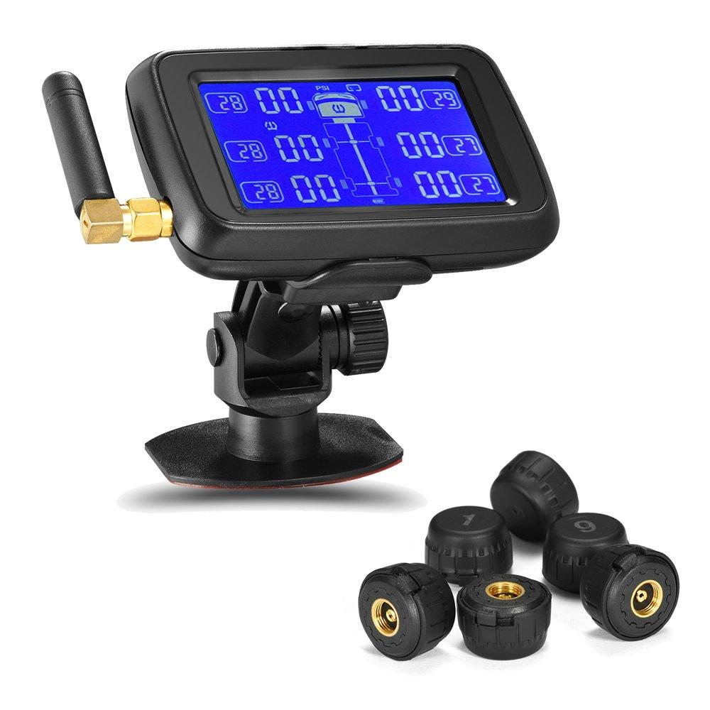 Tire Pressure Monitoring System Careud Tire Pressure Sensor TPMS Sensor RV Truck Bus with 6pcs External Sensors Real Time Monitoring Pressure and Temperature Large LCD Display (U901T 6 Tire)