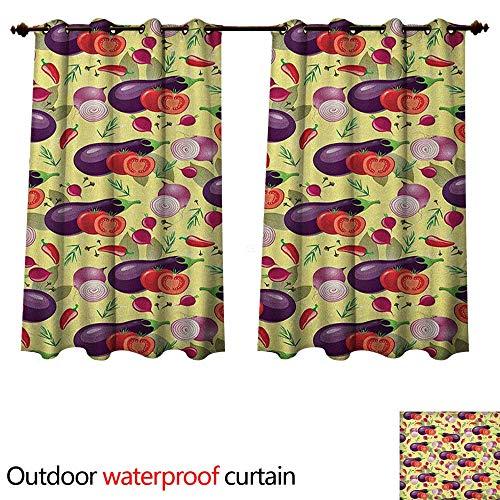 Anshesix Eggplant 0utdoor Curtains for Patio Waterproof Eggplant Tomato Relish Onion Going Green Eating Organic Tasty Preserve Nature W55 x L72(140cm x 183cm)