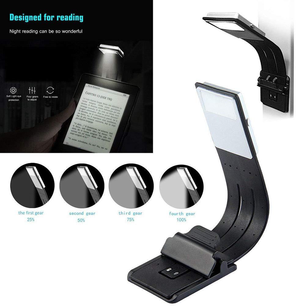 Lámpara de lectura de clip, 4 niveles de brillo LED para libros ...