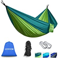 "GEEKHOM Hammock for 2 Person,Outdoor Camping Hammocks 106""(L) x 55""(W) 660lbs Load Capacity with Tree Straps and Aluminum Carabiners for Garden Travel Backpacking Hiking Beach"