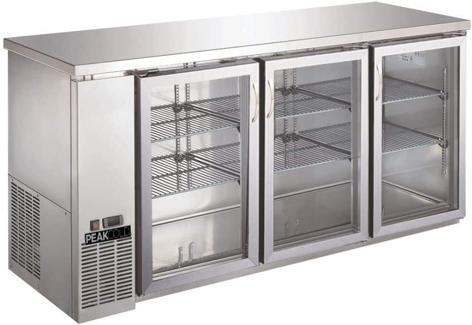 "PEAK COLD 3 Glass Door Commercial Back Bar Cooler; Stainless Steel Under Counter Refrigerator; 72"" W"