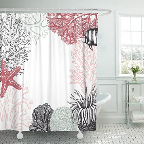 Breezat Shower Curtain Pastel Colored Corals Fish Stars Sketch Vintage Underwater Natural Sealife Wedding Design Waterproof Polyester Fabric 60 x 72 Inches Set with Hooks (Coral Polyp Star)
