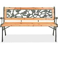 Tidyard Garden Bench Outdoor Bench Wood + Wrought Iron + PVC backrest 122 x 51 x 73 cm (W x D x H)