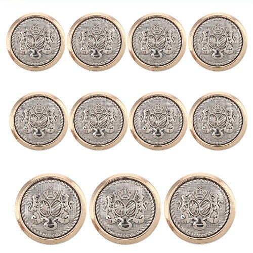 Altered Button - 11 Pieces Polished Gold with Inlaid Silver Metal ~Lion & Stallion Royal Crest Shank Style Sport Coat Blazer Button Set