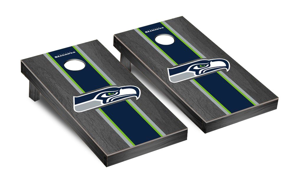 NFL Seattle Seahawks Onyx Stained Stripe Version 2 Football Corn hole Game Set, One Size