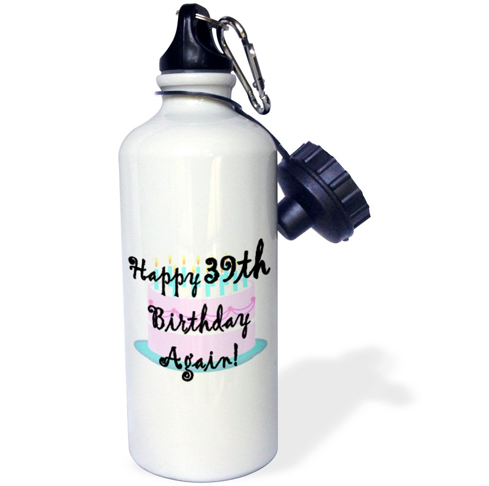 21 oz Multicolor -Sports Water Bottle 3dRose Happy 39th Birthday Again wb/_193389/_1 21oz
