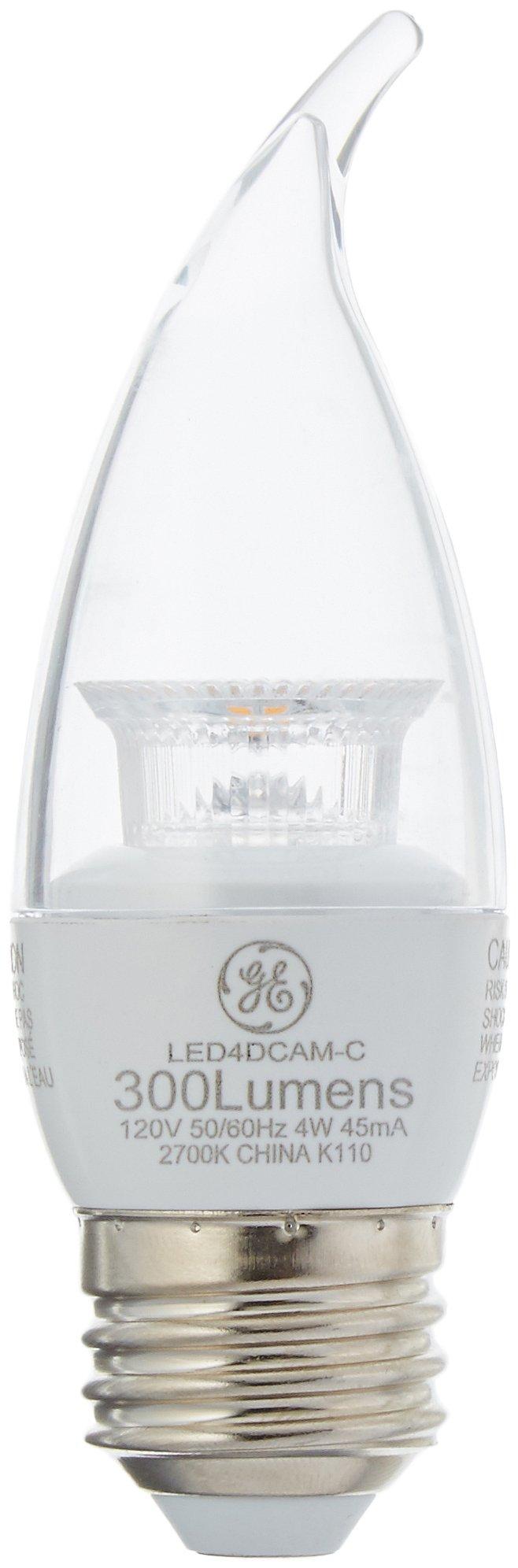 GE LED 40W Equivalent Soft White (2700K) CA11 Bent Tip Medium Base Clear Dimmable LED Light Bulb