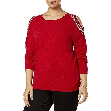 dee9ee850f5 INC International Concepts Plus Size Embellished Cold-Shoulder Sweater (0X)