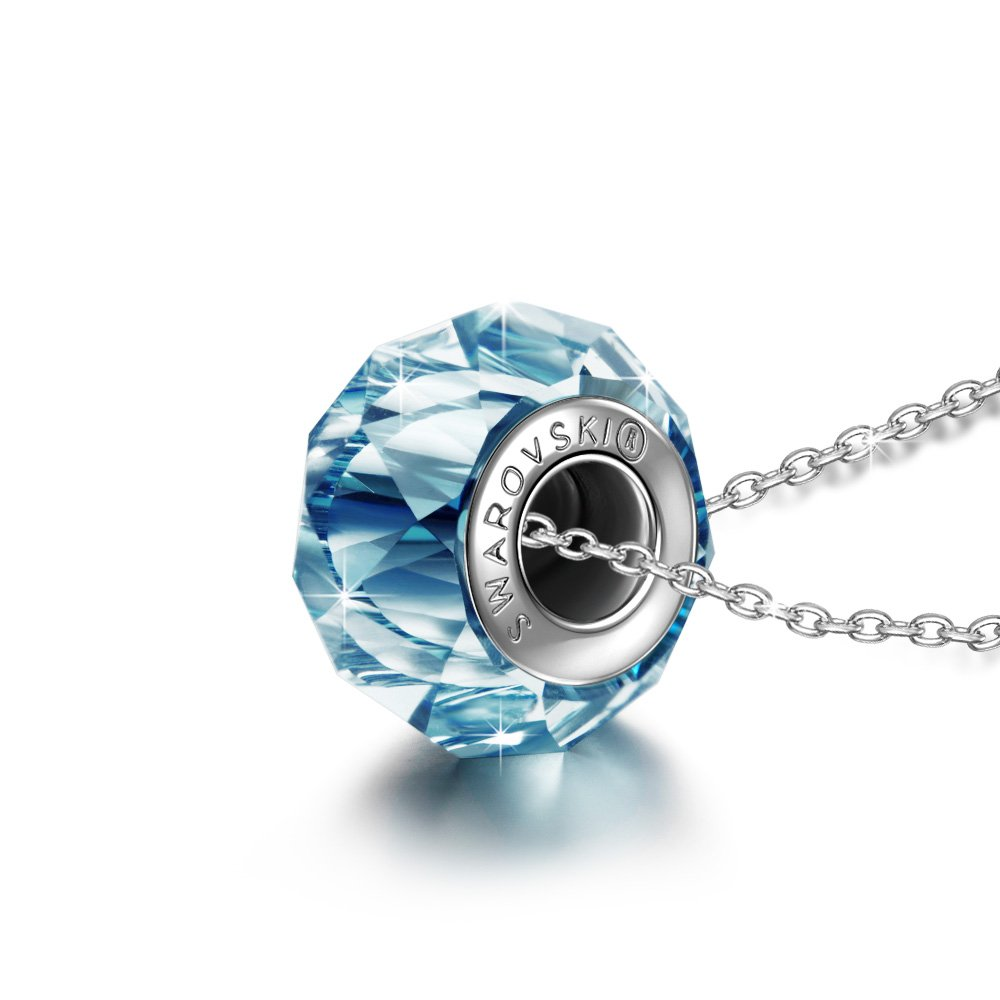 QIANSE Graduation Gifts for Her 925 Sterling Silver Necklace Aquamarine Blue Swarovski Crystals Necklace Birthstone Pendant Fine Jewelry Christmas Present
