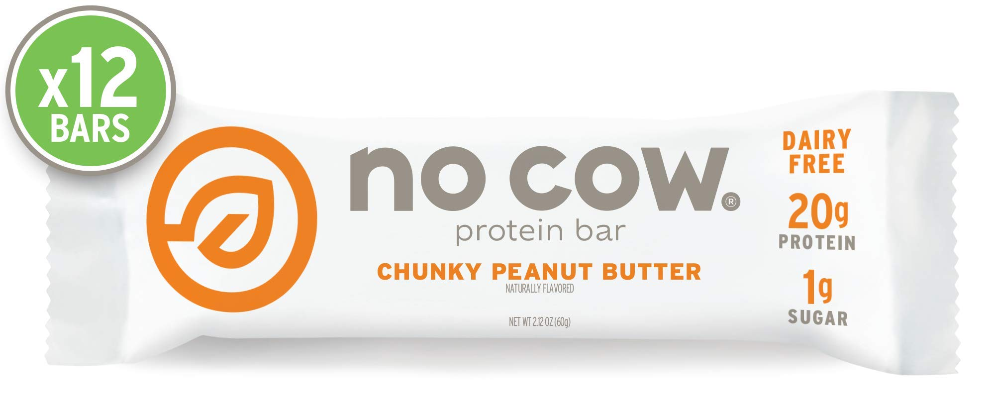No Cow Protein bar, Chunky Peanut Butter, 21g Plant Based Protein, Keto Friendly, Low Sugar, Dairy Free, Gluten Free, Vegan, High Fiber, Non-GMO, 12Count by No Cow