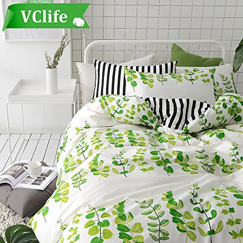 VClife Queen Bedding Sets Plant Leaves Print Duvet Cover Sets (90