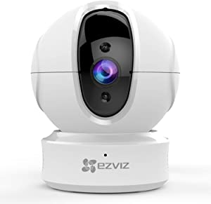 EZVIZ C6CN 1080p Indoor Pan/Tilt WiFi Security Camera, 360° Coverage, Auto Motion Tracking, Two-Way Audio, Clear 30ft Night Vision, Supports MicroSD Card up to 256GB (Sold Seperately), 2.4GHz WiFi