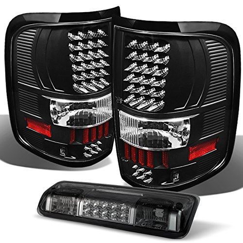 For Ford F-150 Pickup Truck Black LED Tail Lights Replacement + Smoked Rear 3rd Third Brake Light Lamp