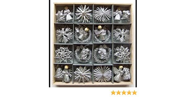 Amazoncom Christmas Straw Ornaments  Set of 48 pieces Silver