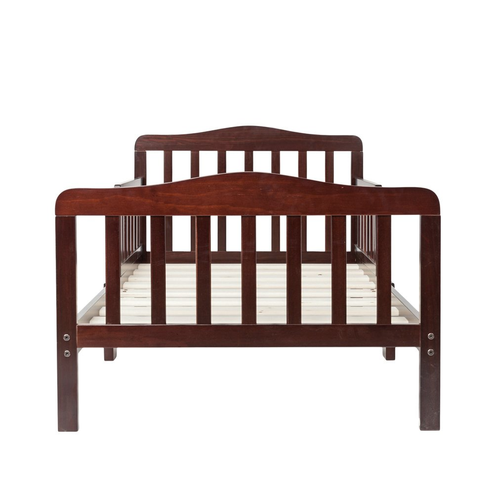 Bonnlo Contemporary Wooden Toddler Bed Sturdy Bedframe with Guard Rail Bedroom Furniture for Kids Children – Cherry by Bonnlo (Image #2)