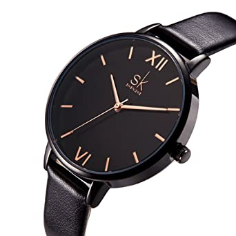 SK Women Watches Leather Band Luxury Quartz Watches Girls Ladies Wristwatch (Black)