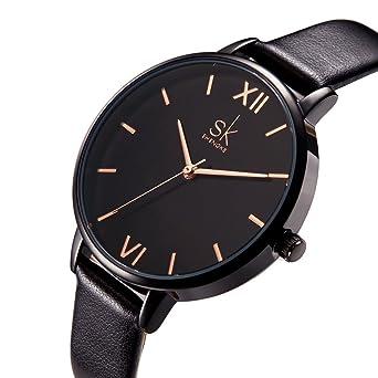 SK Women Watches Leather Band Luxury Quartz Watches Girls Ladies Wristwatch (Black)