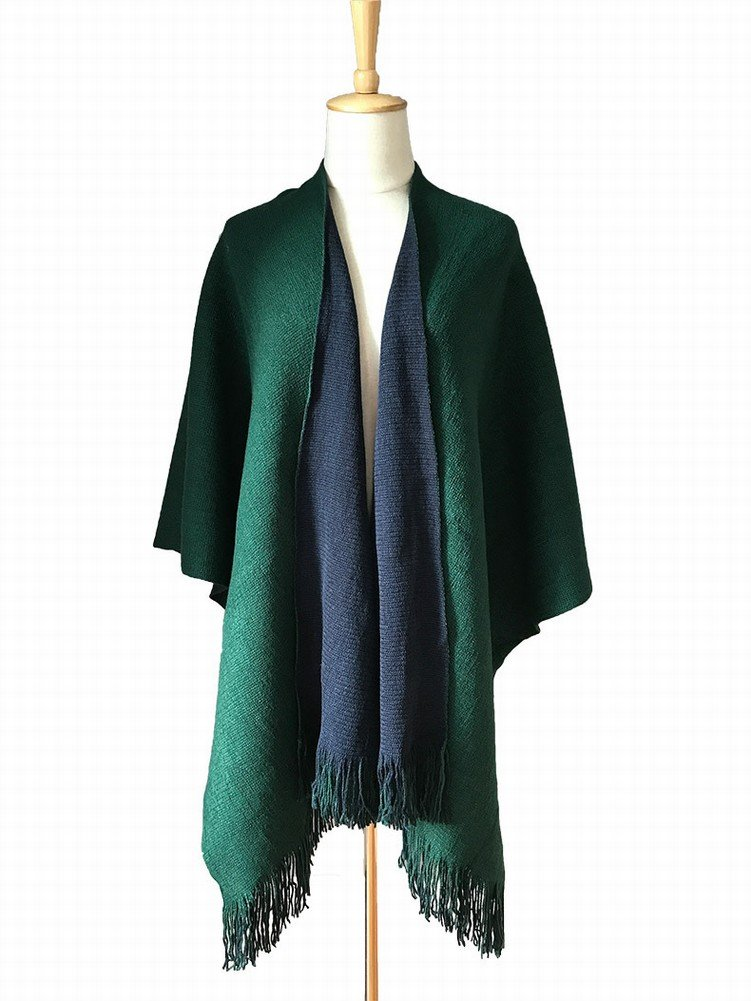Green bluee CWJ ScarfScarf Autumn and Winter Ab Both Sides of Red and Black DoubleSided Warp Knitting Fork Tassel Shawl Dual Use Female Cold Warm Skiing