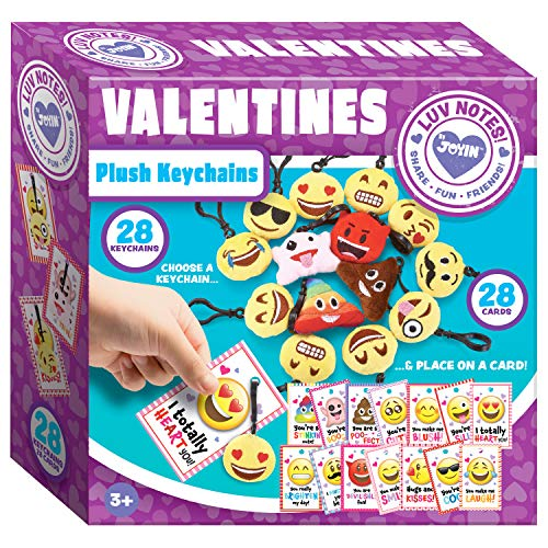 (JOYIN 28 Packs Valentines Day Gifts Cards for Kids with Emoji Plush Key-chain Valentine Classroom Exchange Party)