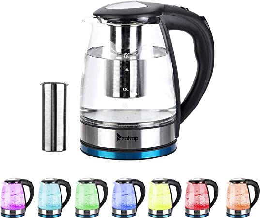 YHBX ZOKOP Water Kettle 7 LED Lights Colors Filter Purity Glass Kettle 220V 2200W 1.8L Electric Glass Kettle