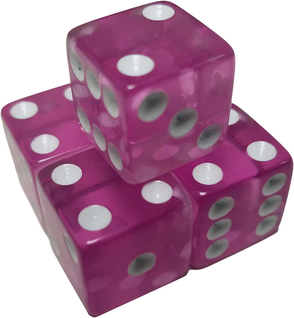 Set of 5 Educational White Color Spots 18mm Wood Dice in Snow Organza Bag