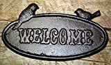 Cast Iron Antique Style Bluebird WELCOME Plaque Garden Sign Wall Decor Birds by OutletBestSelling