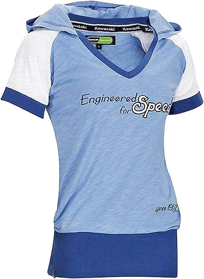 Kawasaki Camiseta Mujer Engineered For Speed Since 1952 Leisure Wear - Azul, Grande/X-Largo: Amazon.es: Ropa y accesorios