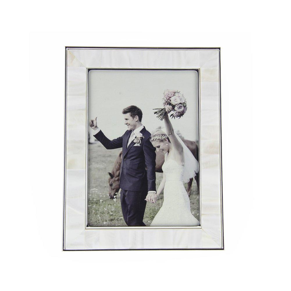 Fulemay シェルフォトフレーム「貝の芸術」シリーズ 写真立て 六切り判 ホワイト B073WQHD5J淡水貝(白) 6切り