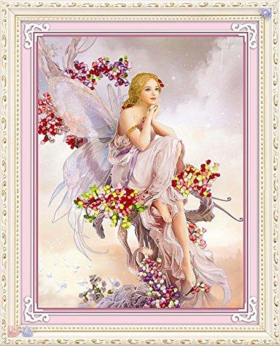 Angel Embroidery Designs - Ribbon embroidery Kit Handmade Flower Design DIY Wall Decor Angel (No frame)