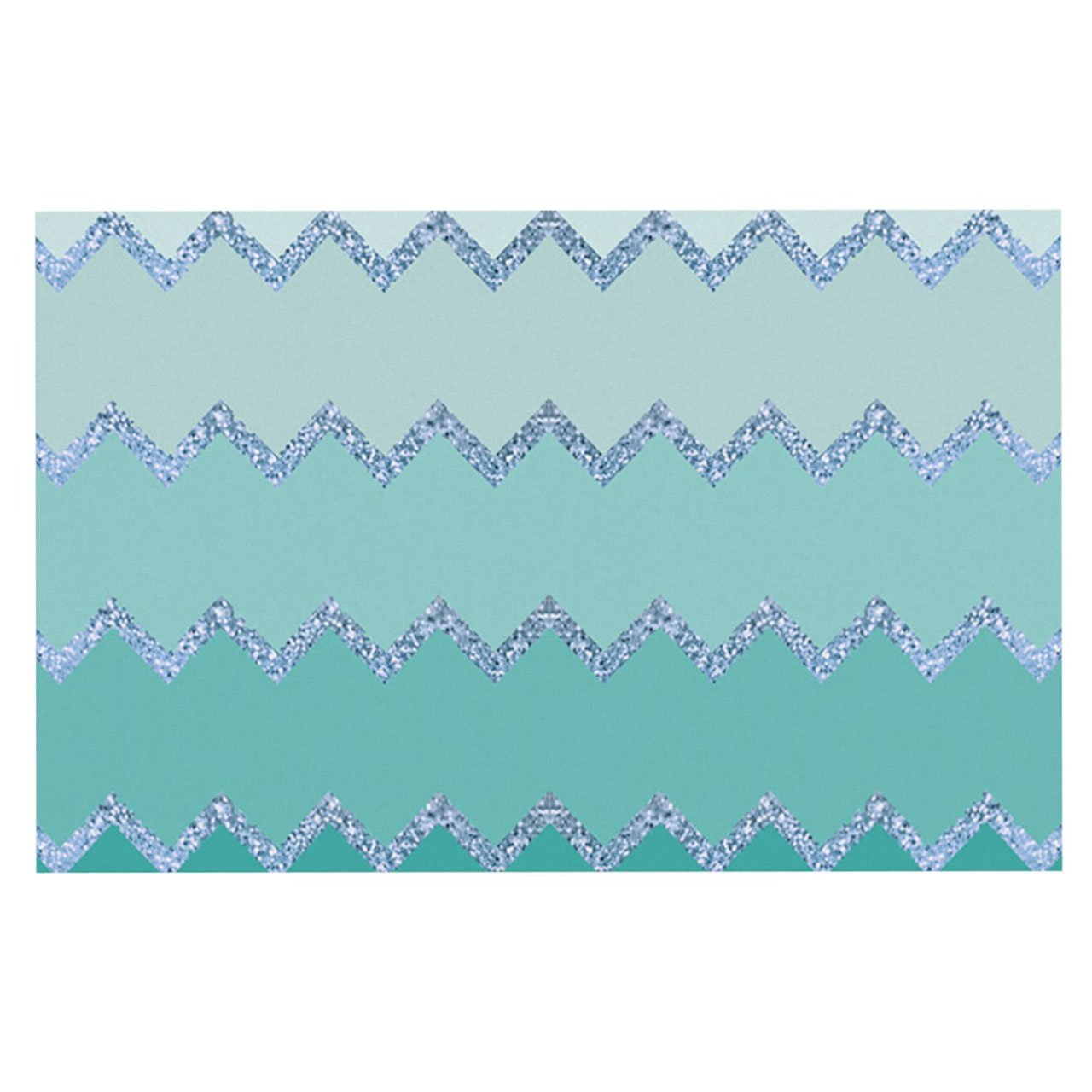 Kess InHouse Monika Strigel Avalon Mint Ombre  Aqua Green Pet Bowl Placemat for Dog and Cat Feeding Mat, 18-Inch by 13-Inch