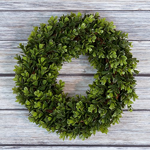 (Boxwood Wreath, Artificial Wreath for the Front Door by Pure Garden, Home Décor, UV Resistant - 12)