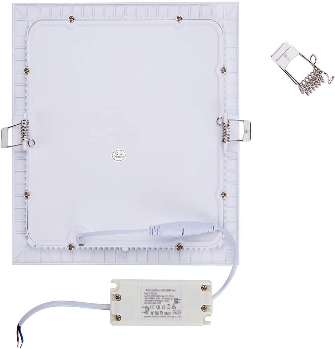 Yafido 5er Led Panel Ultra Slim Einbauleuchte 6W 3000K 480 Lumen Eckig Spot Deckenlampe Warmweiß Super Flach Einbaustrahler mit Teriber 230V Nicht-dimmbar Ø120 x 11 mm Warmweiß